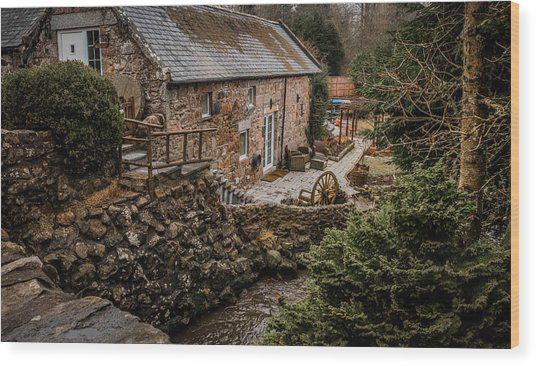 Stone Home By The Stream Wood Print