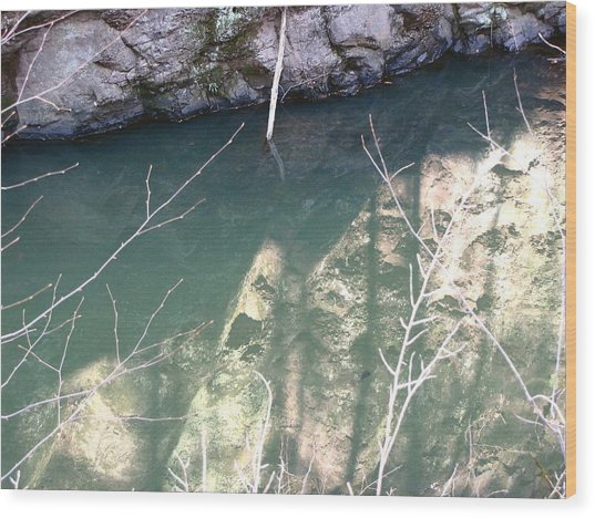 Stone Reflection In Water Wood Print