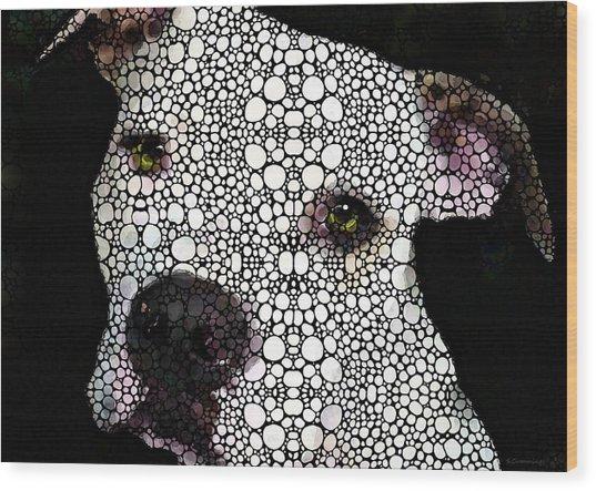 Stone Rock'd Dog By Sharon Cummings Wood Print
