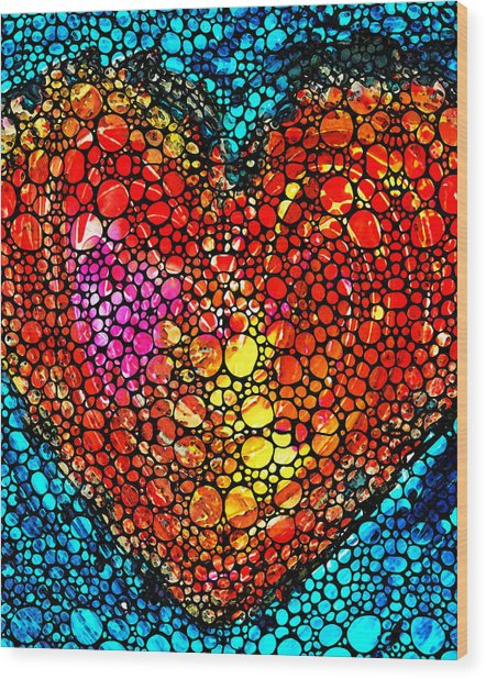 Stone Rock'd Heart - Colorful Love From Sharon Cummings Wood Print