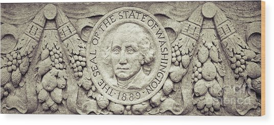 Stone Seal Of The State Of Washington Wood Print