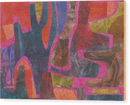 Stone Tree Sunrise Wood Print