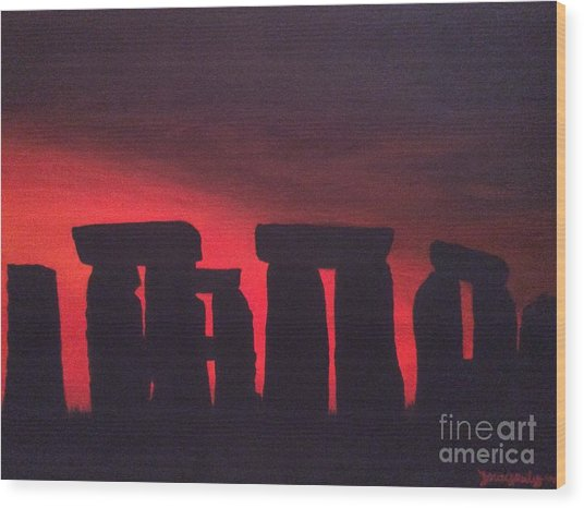 Stonehenge At Dusk Wood Print