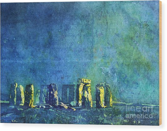 Stonehenge In Moonlight Wood Print