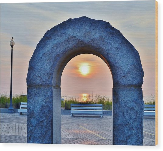 Sunrise Through The Arch - Rehoboth Beach Delaware Wood Print