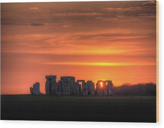 Stonehenge Sunset Wood Print by Simon West