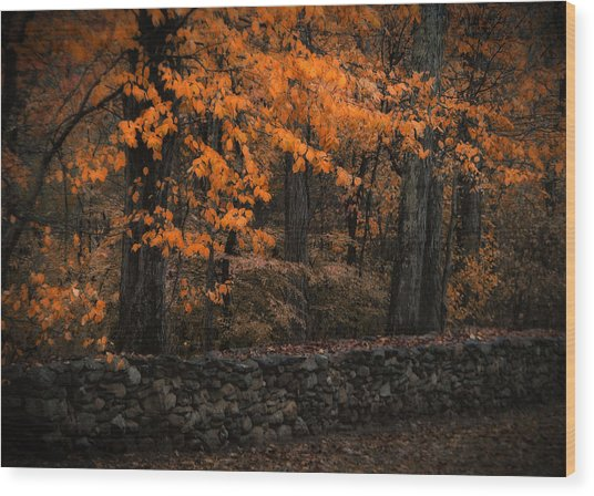 Stonewall In Autumn Wood Print