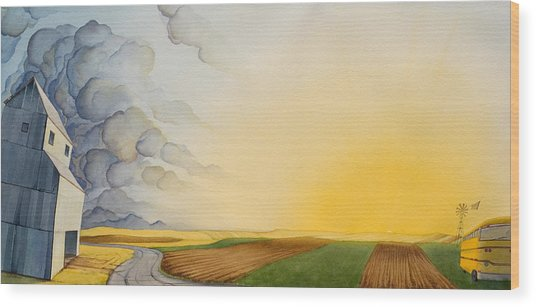 Storm And Sunset II Wood Print