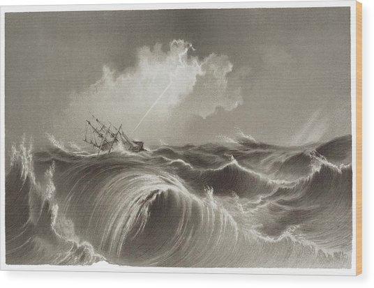 Storm At Sea Engraving Wood Print