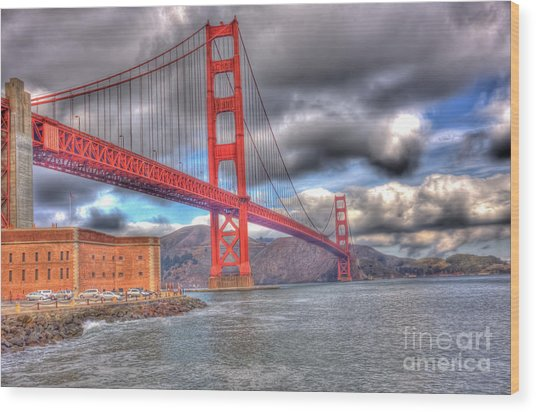 Storm Clouds Over The Golden Gate Bridge 2 Wood Print