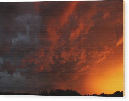 Storm Clouds Over Yorkton II Wood Print