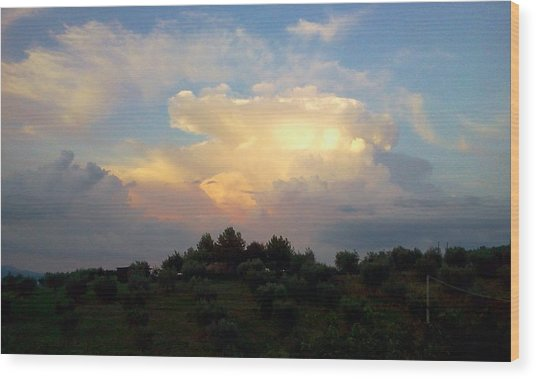 Storm Clouds Reflecting Sunset Wood Print