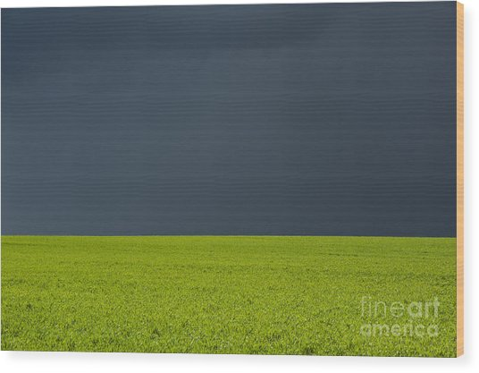 Storm Field Abstract Wood Print