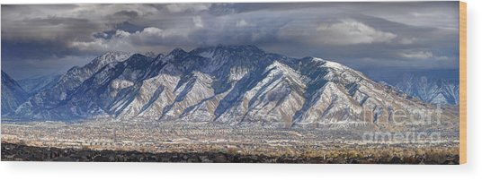 Storm Front Passes Over The Wasatch Mountains And Salt Lake Valley - Utah Wood Print