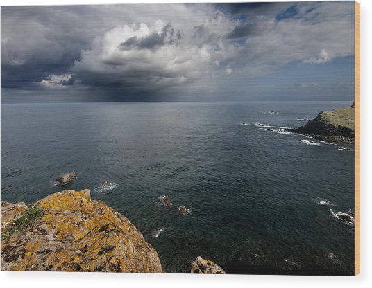 A Mediterranean Sea View From Sa Mesquida In Minorca Island - Storm Is Coming To Island Shore Wood Print