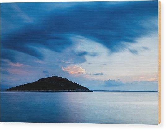 Storm Moving In Over Veli Osir Island At Sunrise Wood Print