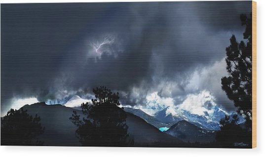 Storm On Long's Peak Wood Print by Ric Soulen