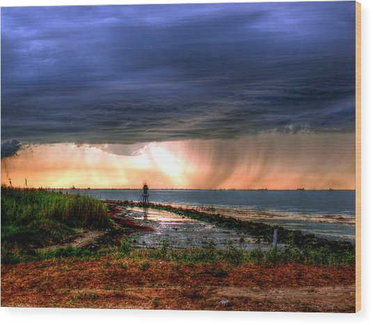 Storm On The Bay Wood Print