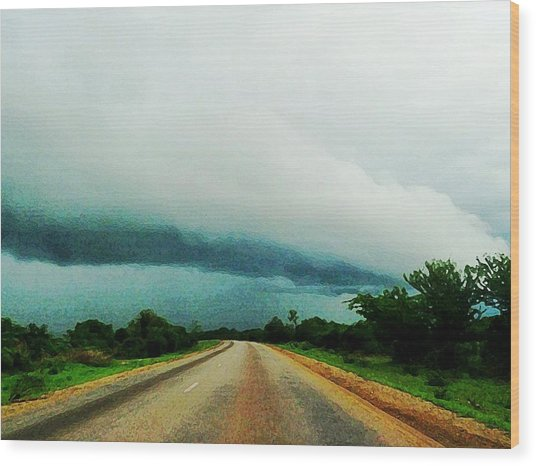 Storm On The Horizon Wood Print