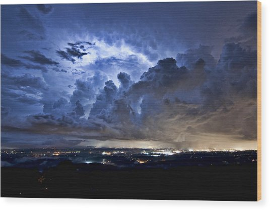 Storm Over Chattanooga Wood Print