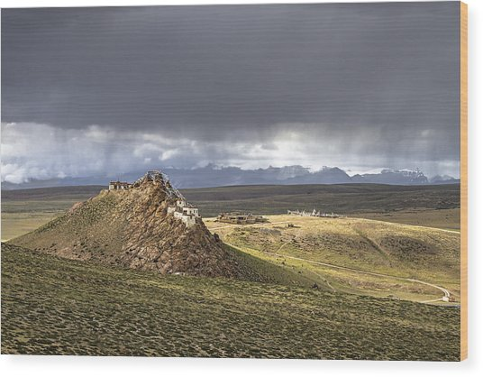 Wood Print featuring the photograph Storm Over Chiu Monastery, Chiu, 2011 by Hitendra SINKAR