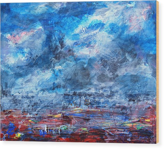 Storm Over Flower Fields Wood Print by Walter Fahmy