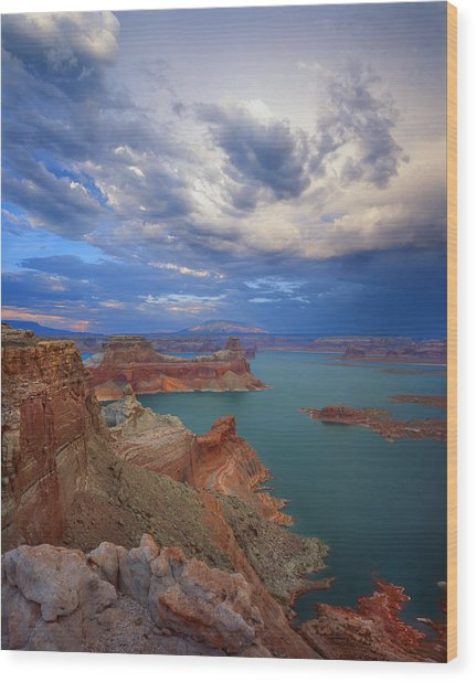 Storm Over Lake Powell Wood Print