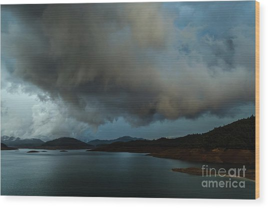 Storm Over Lake Shasta Wood Print