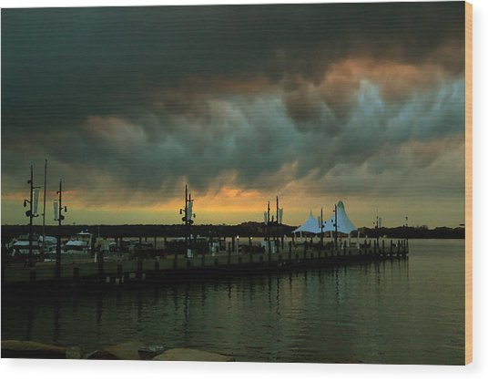 Storm Over National Harbor Oil Wood Print