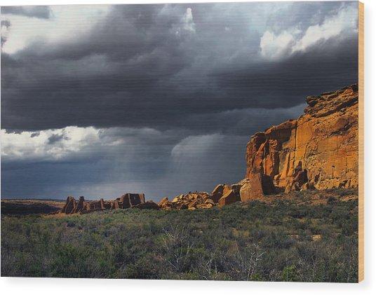 Storm Over Pueblo Bonito Wood Print