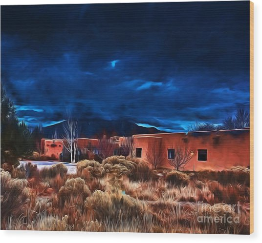 Storm Over Taos Lx - Homage Okeeffe Wood Print
