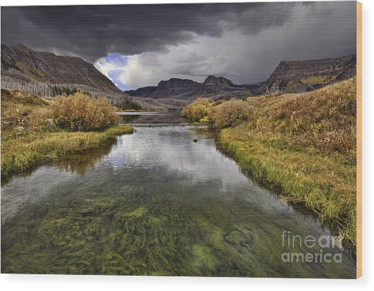 Storm Over Trappers Lake Wood Print
