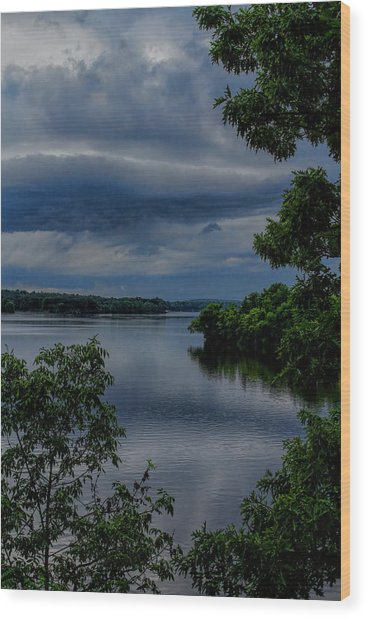 Storm Rolling Over Lake Wausau Wood Print