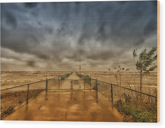Storm Sandy At Bradstreet Landing Wood Print