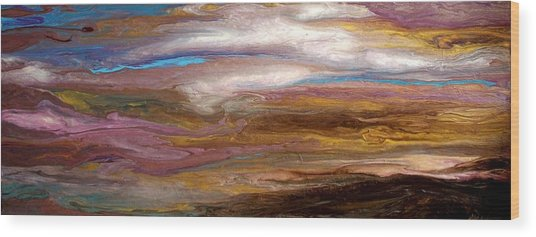 Storms At Sunset / Original Skyscape Painting Wood Print