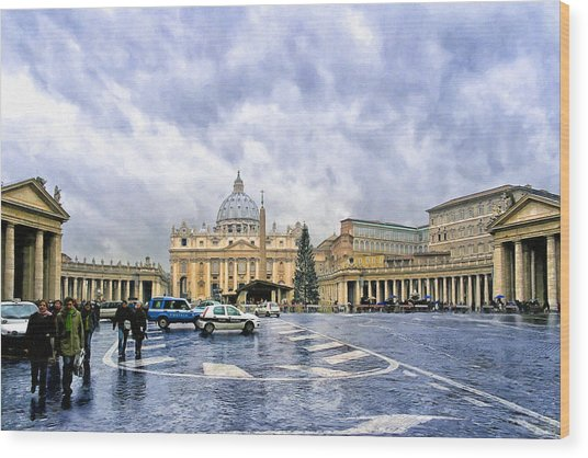 Storms Over St Peter's Basilica In Rome Wood Print by Mark Tisdale