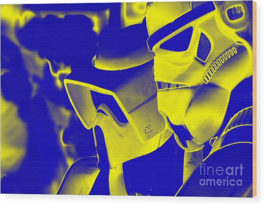 Stormtrooper And Biker Scout Wood Print by Micah May
