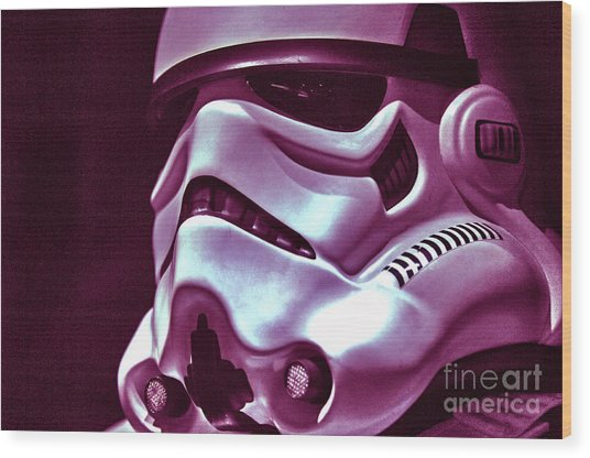 Stormtrooper Helmet 20 Wood Print by Micah May
