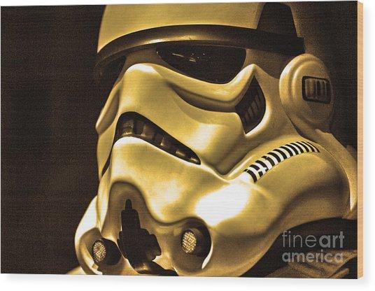 Stormtrooper Helmet 24 Wood Print by Micah May
