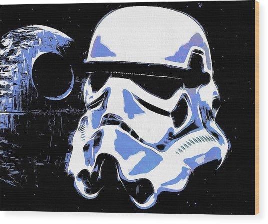 Stormtrooper Helmet And Death Star Wood Print