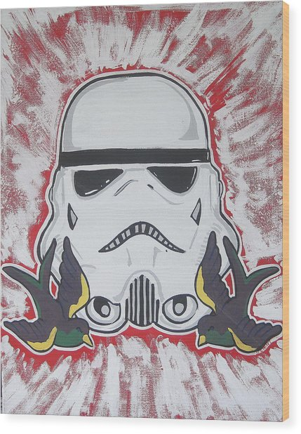 Stormtrooper Tattoo Art Wood Print by Gary Niles