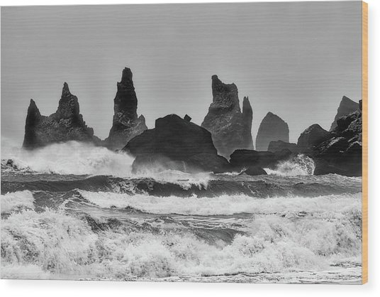 Stormy Beach Wood Print by Alfred Forns