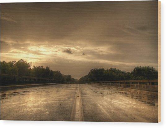 Stormy Bridge Wood Print by David Paul Murray