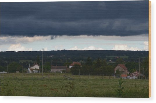 Stormy Countryside Wood Print