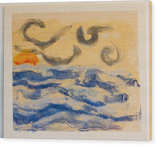 Stormy Dawn Wood Print