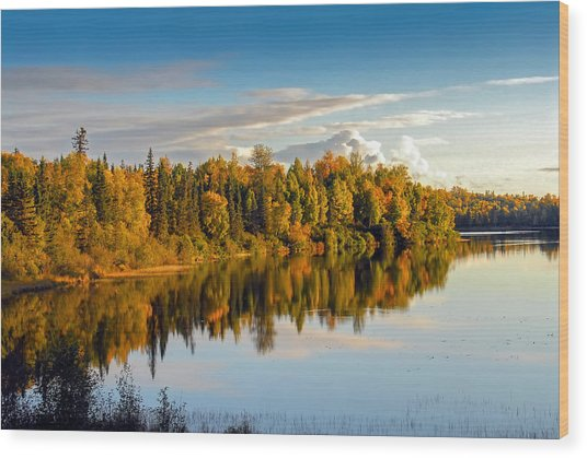 Stormy Lake Alaska In Autumn Wood Print