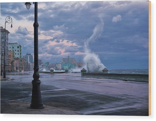 Stormy Malecon Wood Print