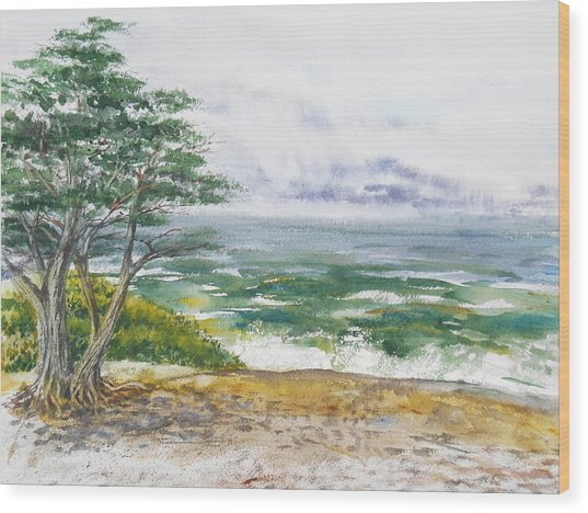 Stormy Morning At Carmel By The Sea California Wood Print