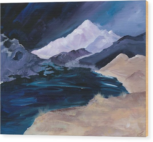 Stormy Mountain Wood Print