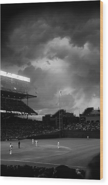 Stormy Night At Wrigley Field Wood Print
